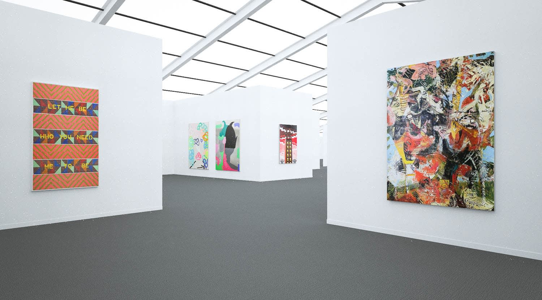 Works by Jeffrey Gibson, Jose Lerma, and Angel Otero at Frieze New York (Installation View), 2020, Kavi Gupta