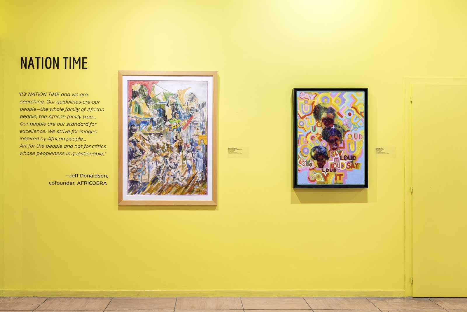 Works by Wadsworth Jarrell and Gerald Williams in AFRICOBRA:Nation Time, 2019 Venice Biennale.