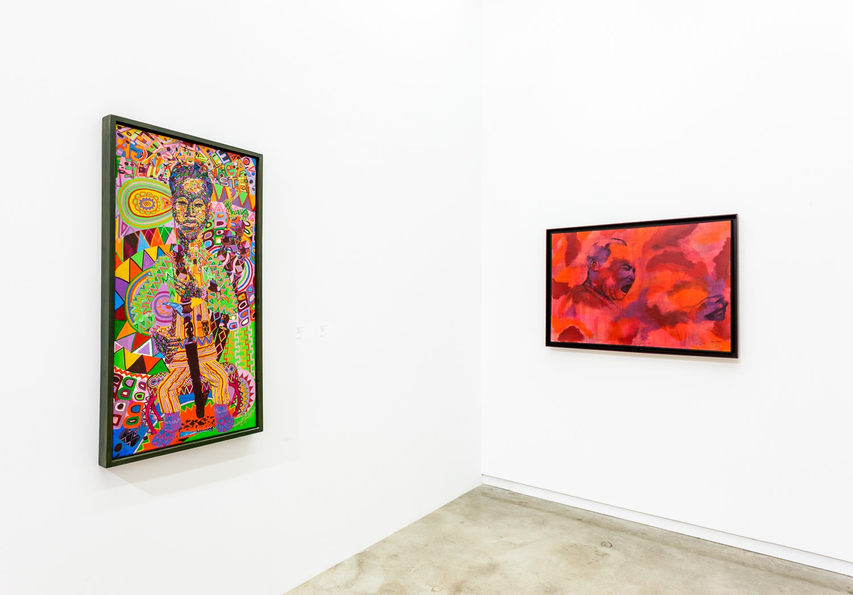 Works by Wadsworth Jarrell and Gerald Willisma in Africobra 50, Kavi Gupta, 2018