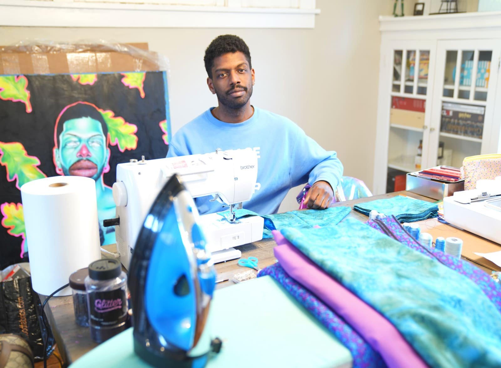 Devan Shimoyama in his current workspace at his home in Pittsburgh, PA., 2020.