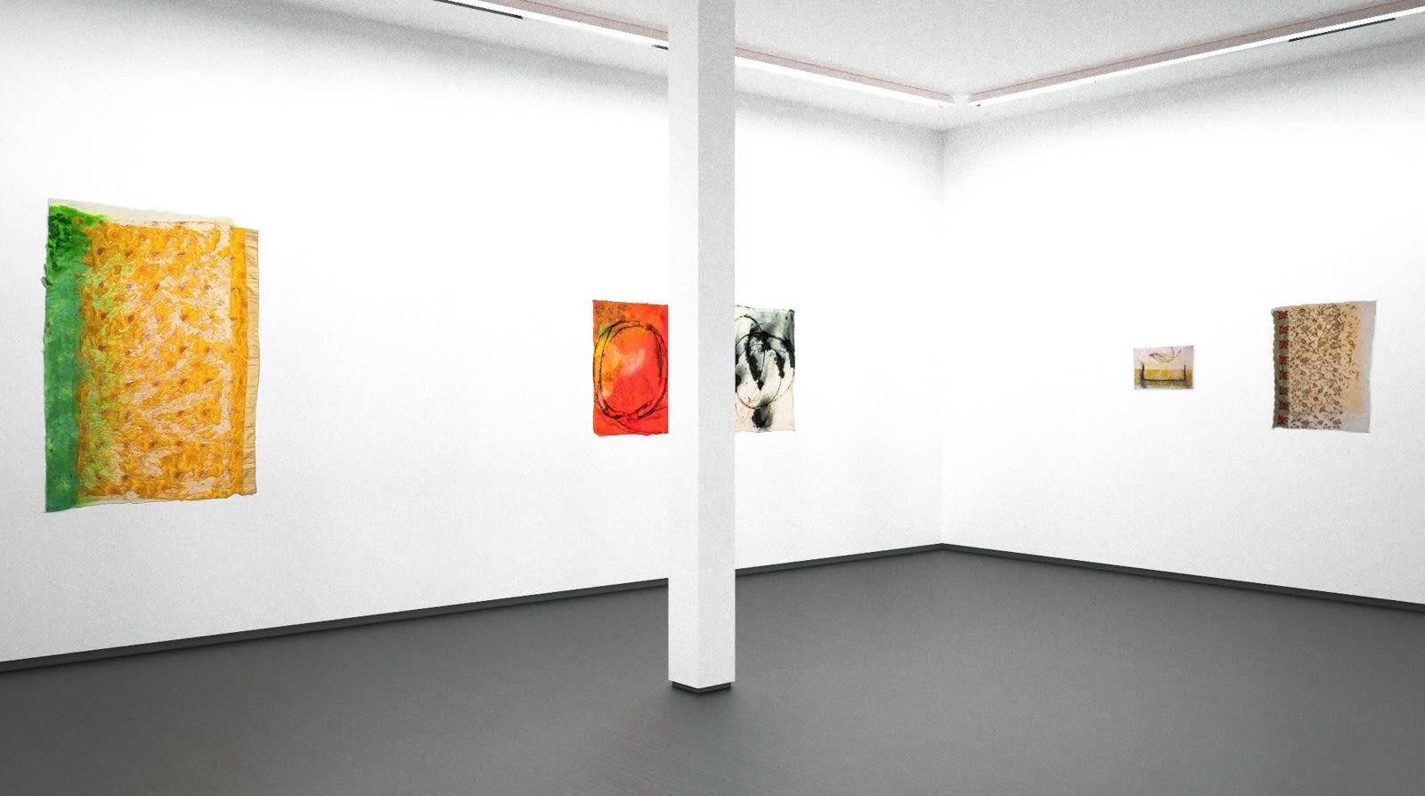Installation view, Jessica Stockholder: As Glue, Material & Surface: Paper Works (Virtual exhibition), 2020, Kavi Gupta | Kathmandu Projects