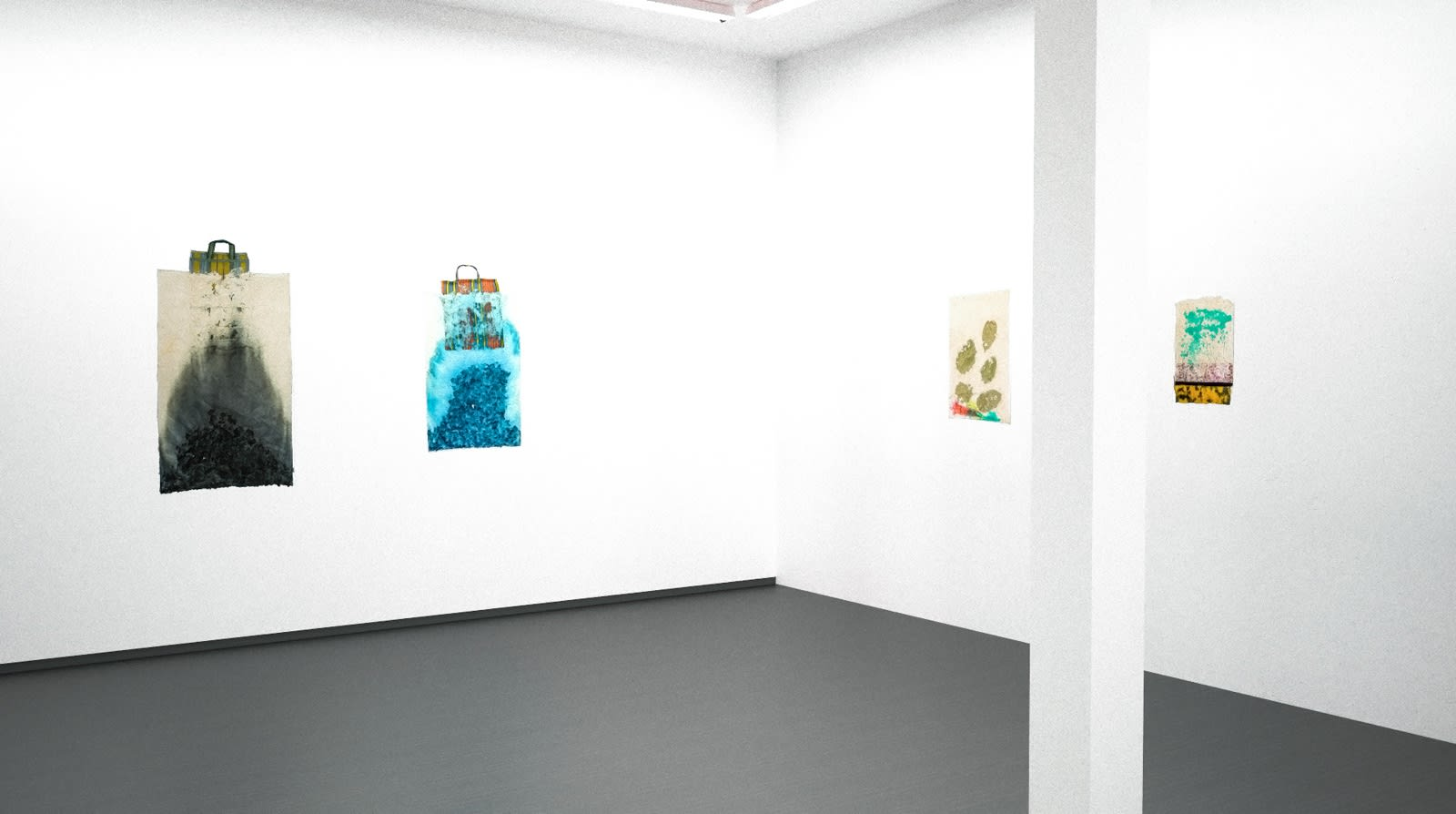 Installation view, Jessica Stockholder: As Glue, Material & Surface: Paper Works (Virtual exhibition), 2020, Kavi Gupta | Kathmandu Projects