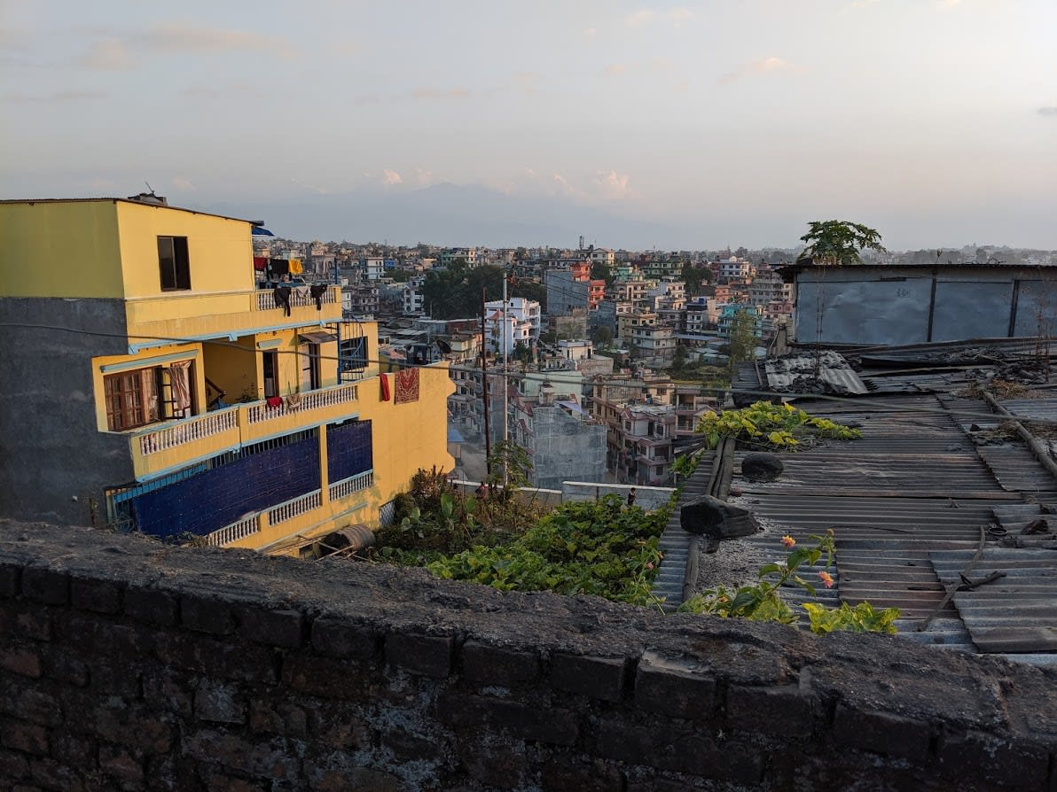 A view of central Kathmandu from the grounds of the paper making facility, 2019