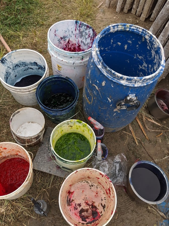 Buckets of dye for use during the paper making process, 2019