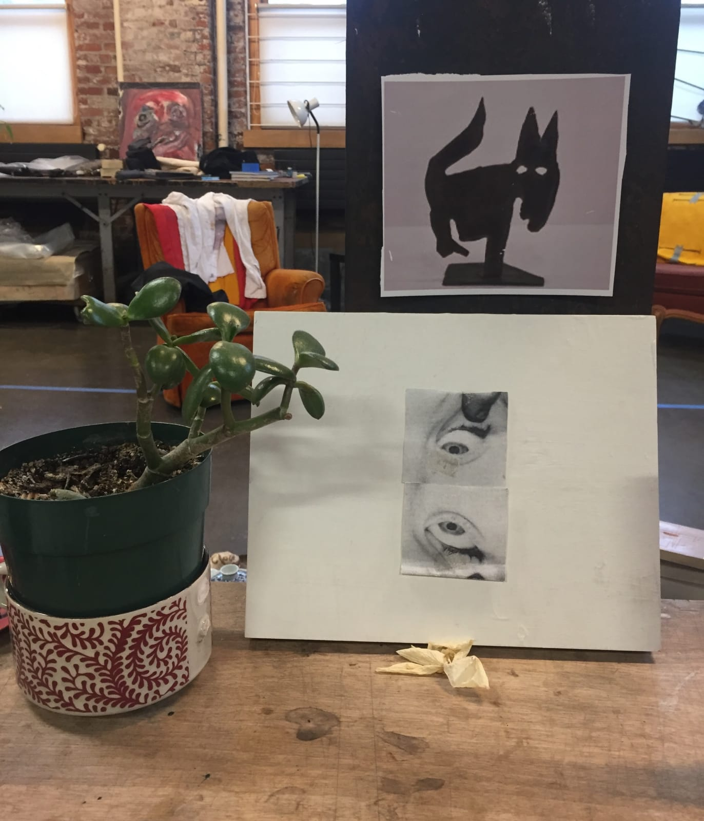 A succulent plant and works on paper adorn Mathieu's desk in his studio in Montreal, Canada.