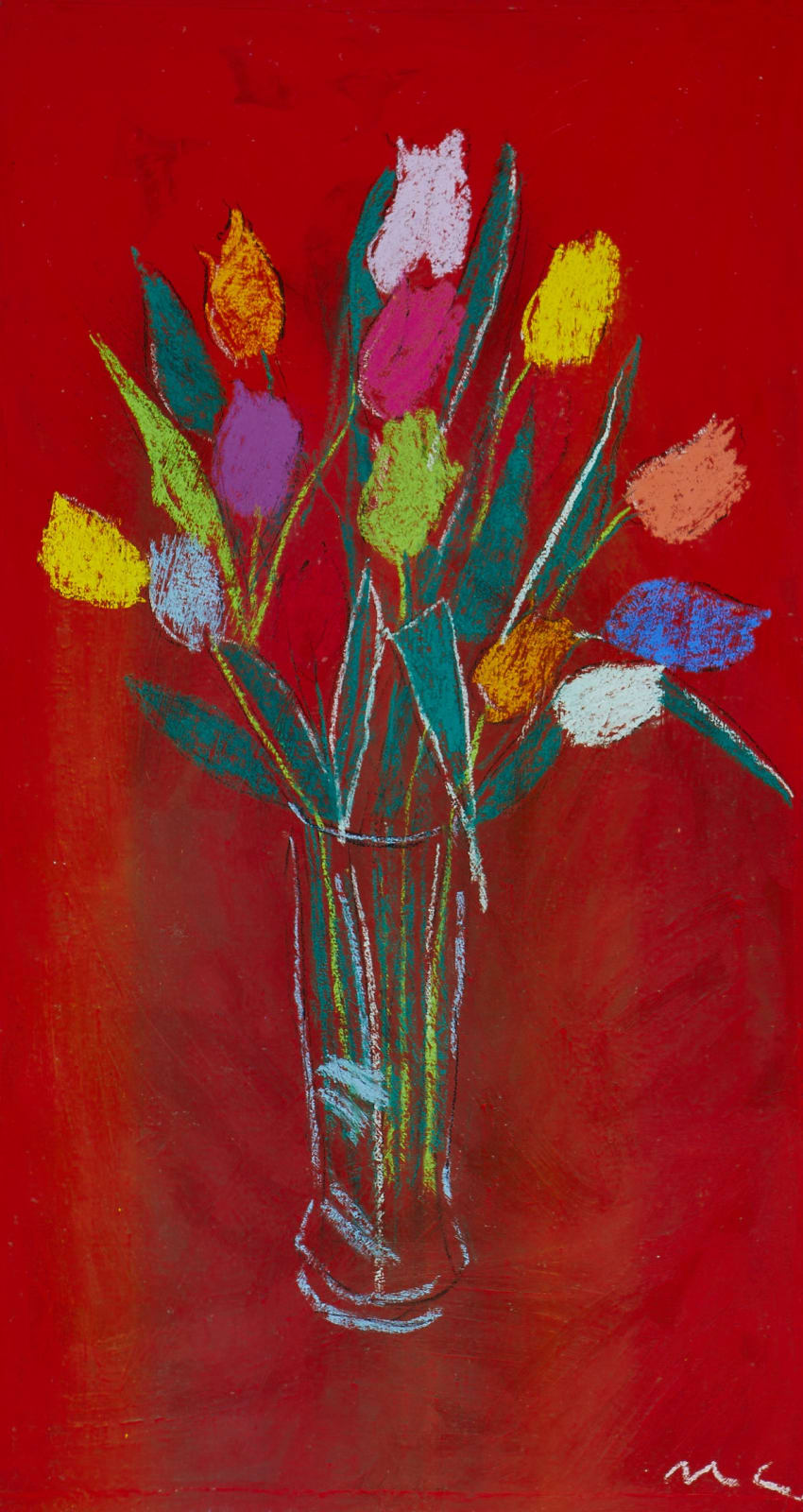 MICHAEL COLEMAN, TULIPS ON RED, 2019