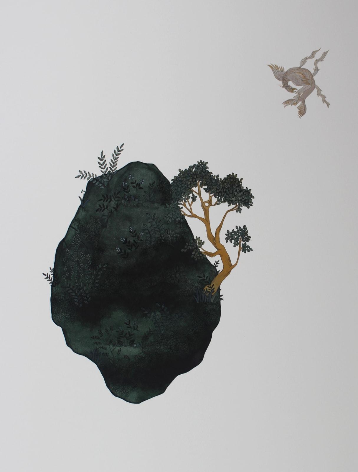Maha Ahmed, An Unstrustworthy Bridge, 2019 Gouache on paper 40 x 33 cm