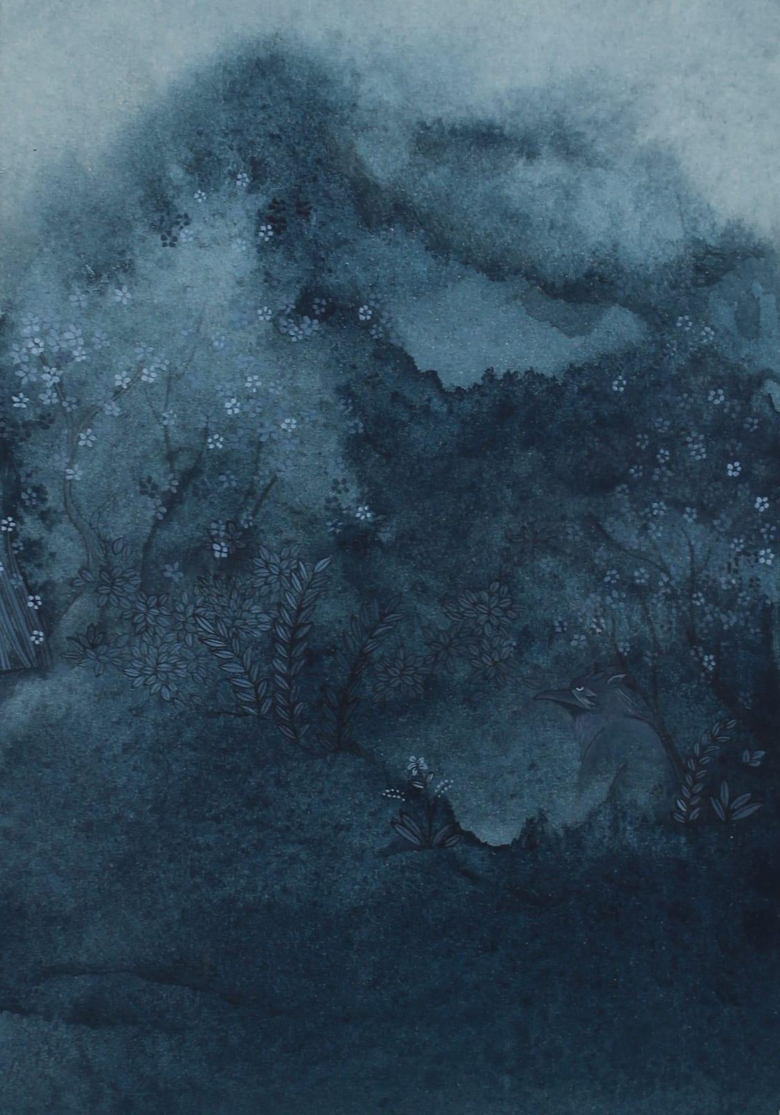 Maha Ahmed, A Piece of Stolen Sky, 2019 Gouache on paper 15.5 x 10.5 cm