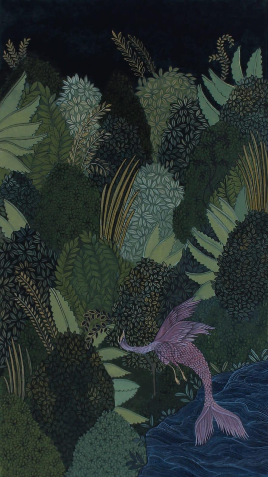 Maha Ahmed, Under the Night's Sky, 2019 Gouache on paper 19.2 x 10.5 cm