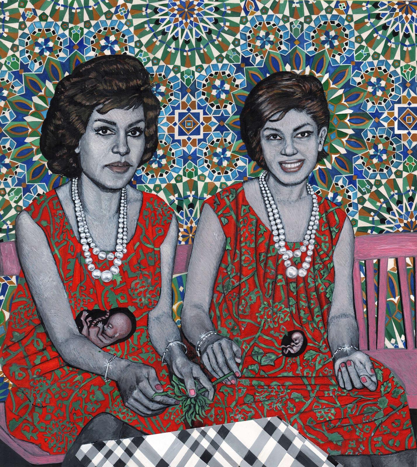 Soheila Sokhanvari, Children of Revolution, 2019 Egg tempera on calf vellum 21 x 24 cm