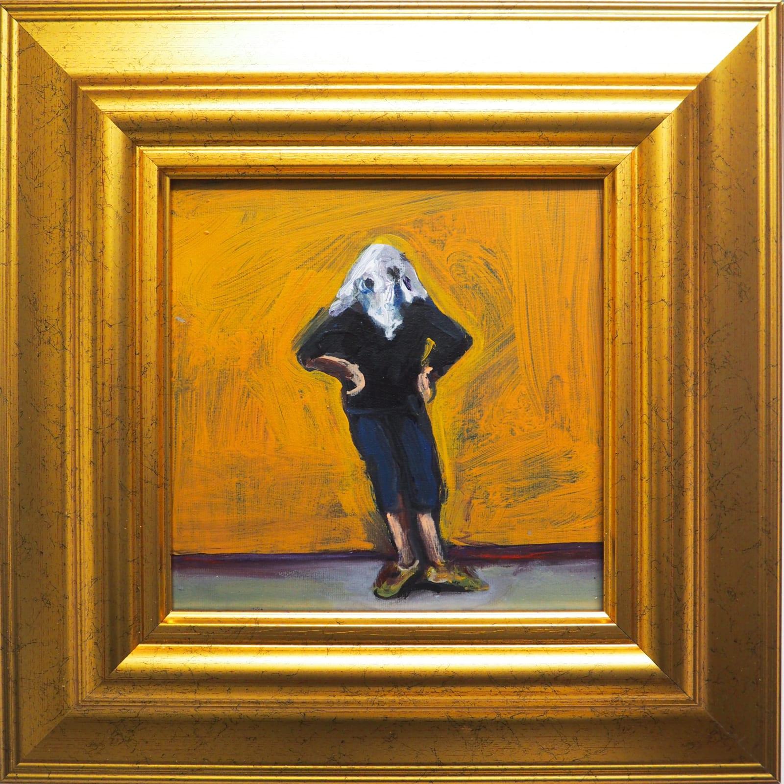 Yassine Balbzioui, waiting, 2018 Oil on canvas 35.2 x 35.2 cm (framed)