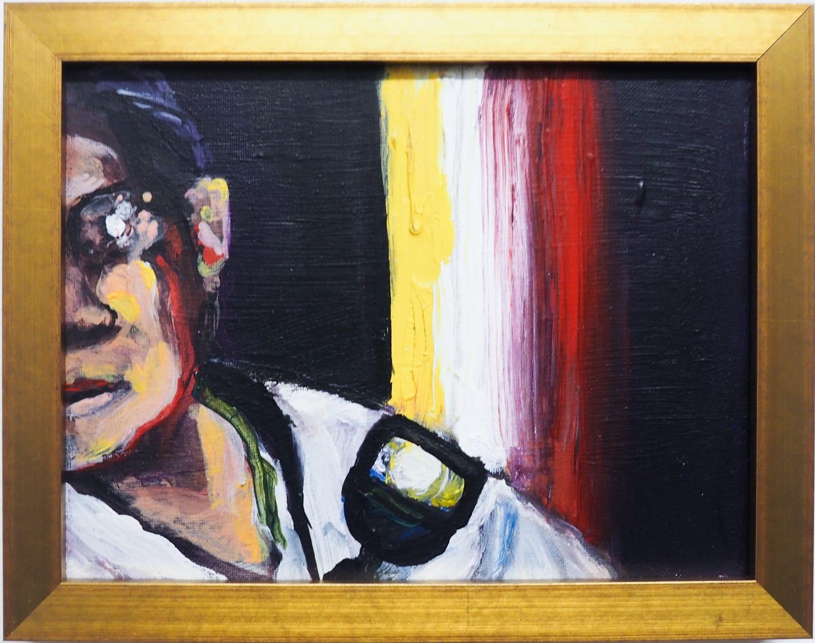 Yassine Balbzioui, half sight, 2018 Acrylic on canvas 17.5 x 22.5 cm (framed)