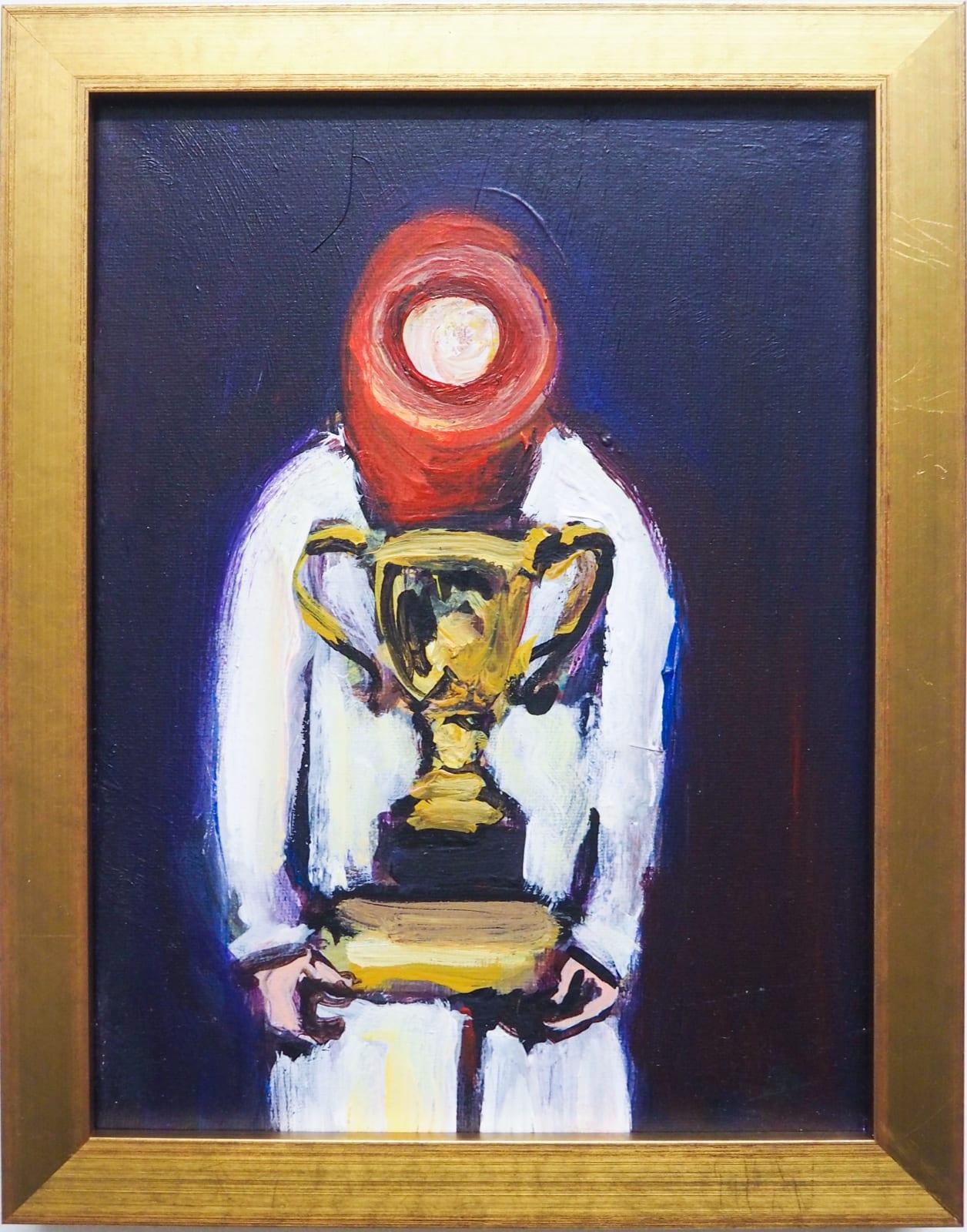 Yassine Balbzioui, easy game 2, 2018 Oil on canvas 22.5 x 17.5 cm (framed)