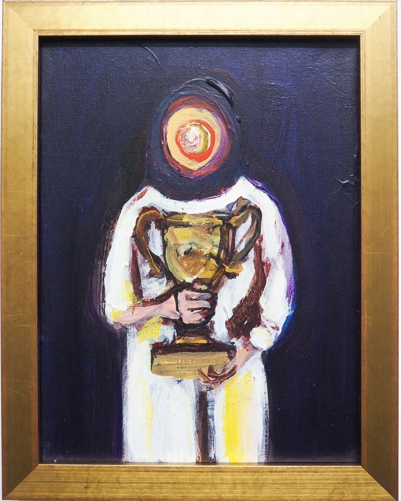 Yassine Balbzioui, easy game 1, 2018 Oil on canvas 22.5 x 17.5 cm (framed)