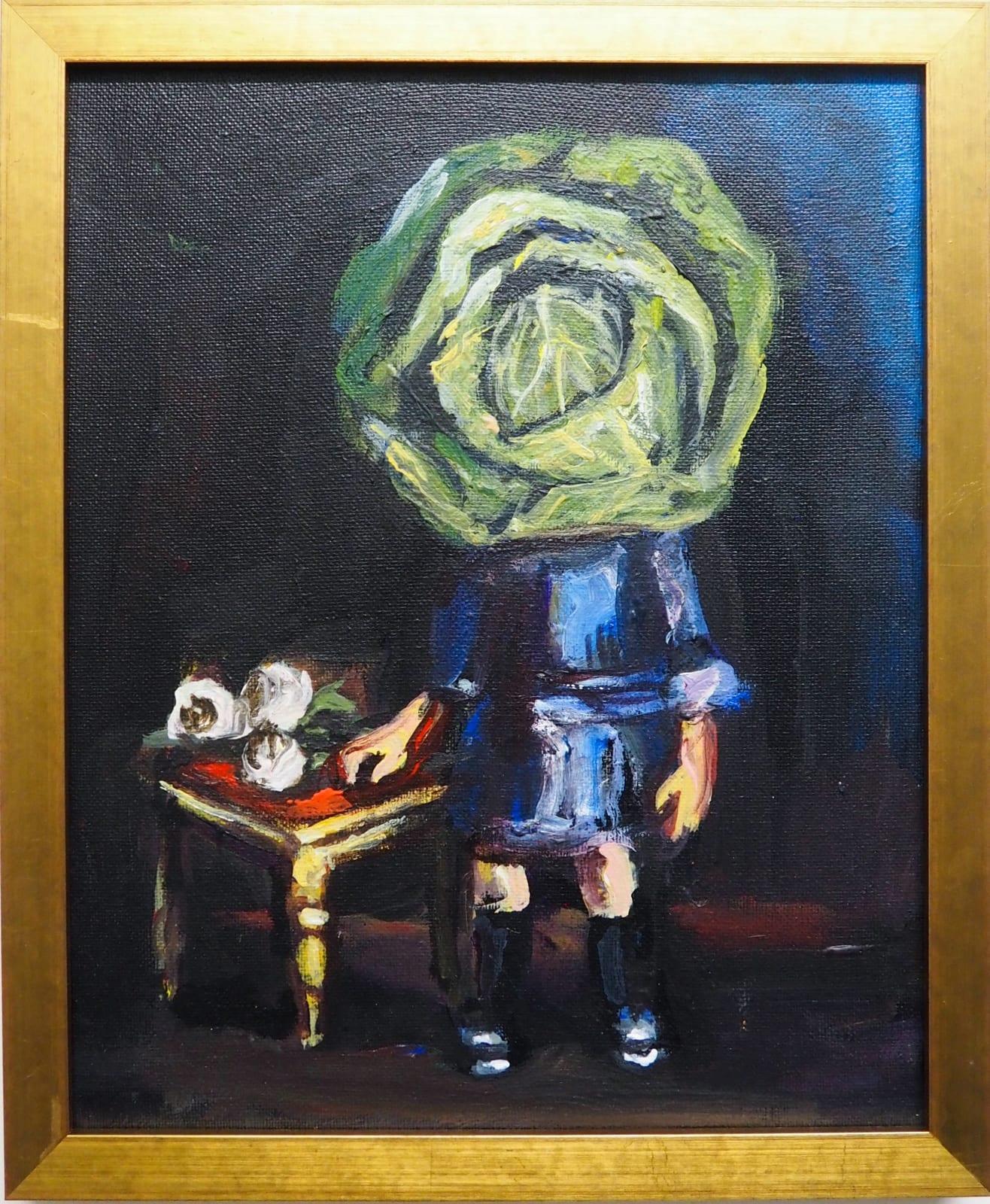 Yassine Balbzioui, chou girl, 2018 Oil on canvas 29.5 x 24.5 cm (framed)