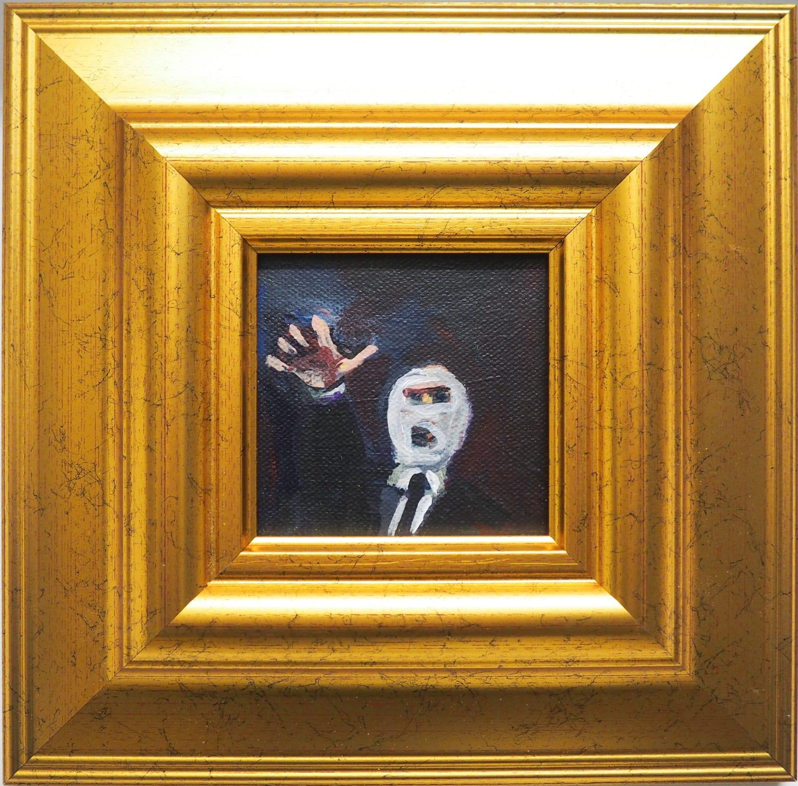 Yassine Balbzioui, between fingers, 2018 Oil on canvas 25.5 x 25.2 cm (framed)