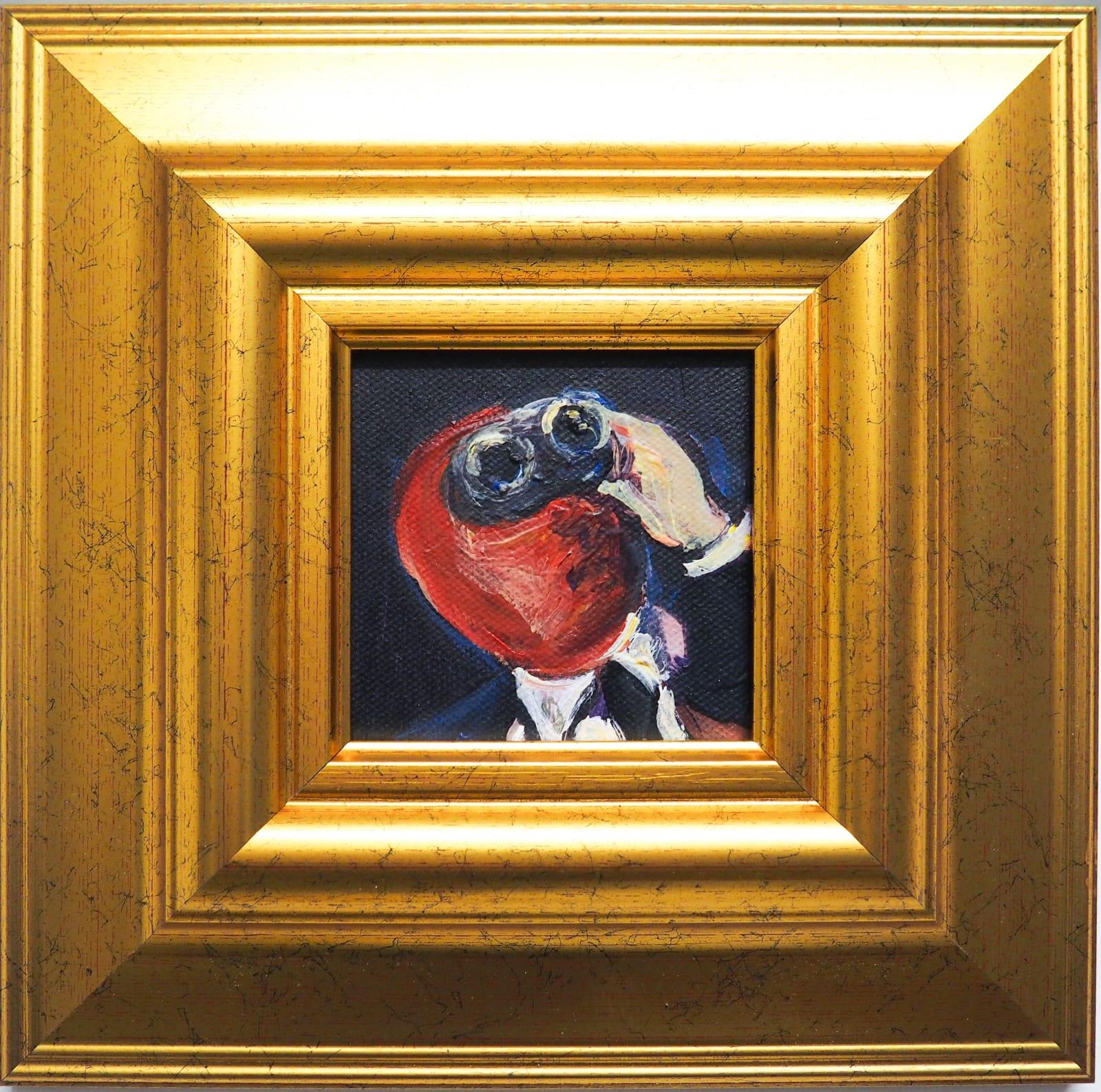 Yassine Balbzioui, jumelles noires, 2018 Oil on canvas 25.5 x 25.2 cm (framed)