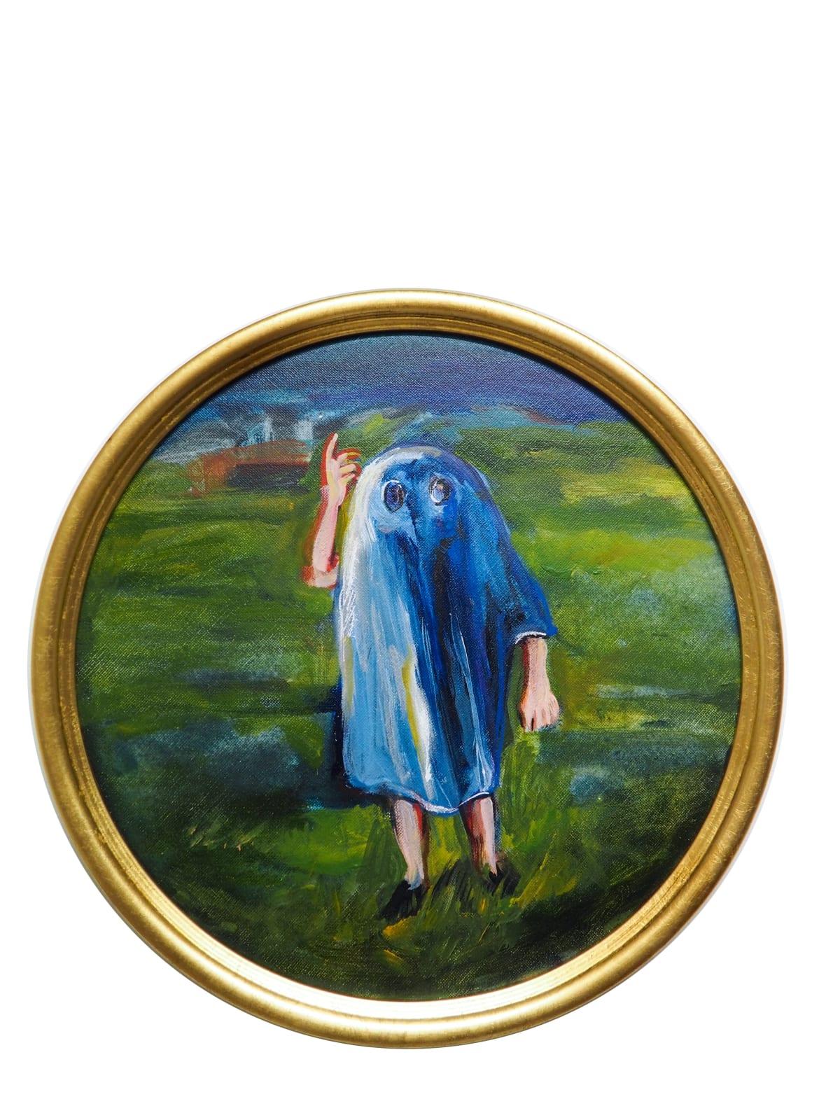Yassine Balbzioui, freindly, 2018 Oil on board 33 cm (framed)
