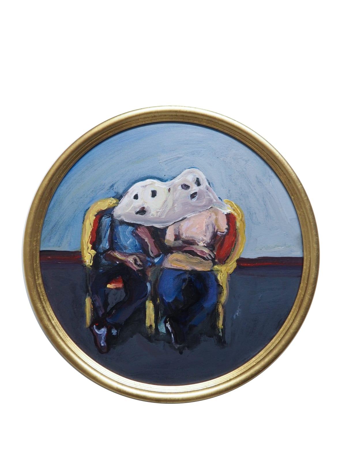 Yassine Balbzioui, twin ghost, 2018 Oil on board 33 cm (framed)