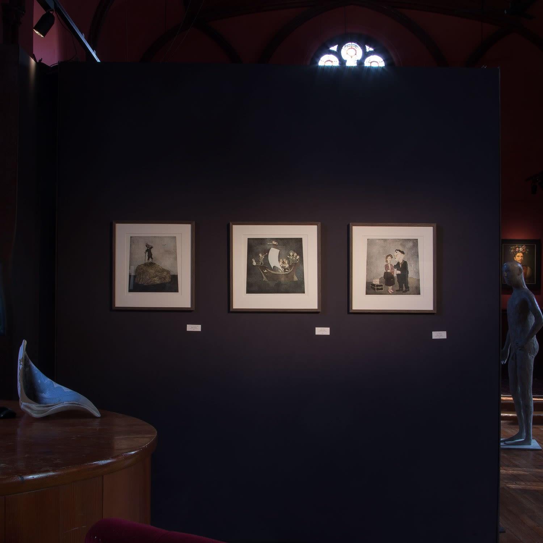 Three Robert Powell etchings - Bound for Isolations - Kilmorack Gallery, September 2019