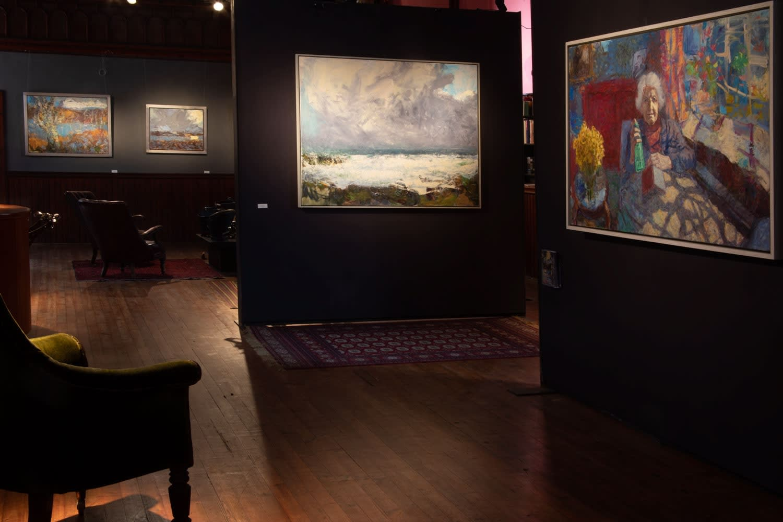 Allan MacDonald exhibition, August 2019. Looking towards the enterance.