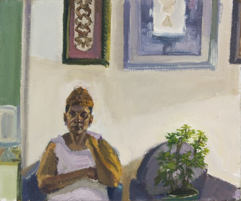 """Sedrick Huckaby, Study for """"Carrie, Nosy"""", 2021, 25.4 × 30.5cm / 10 × 12in, Oil on canvas"""