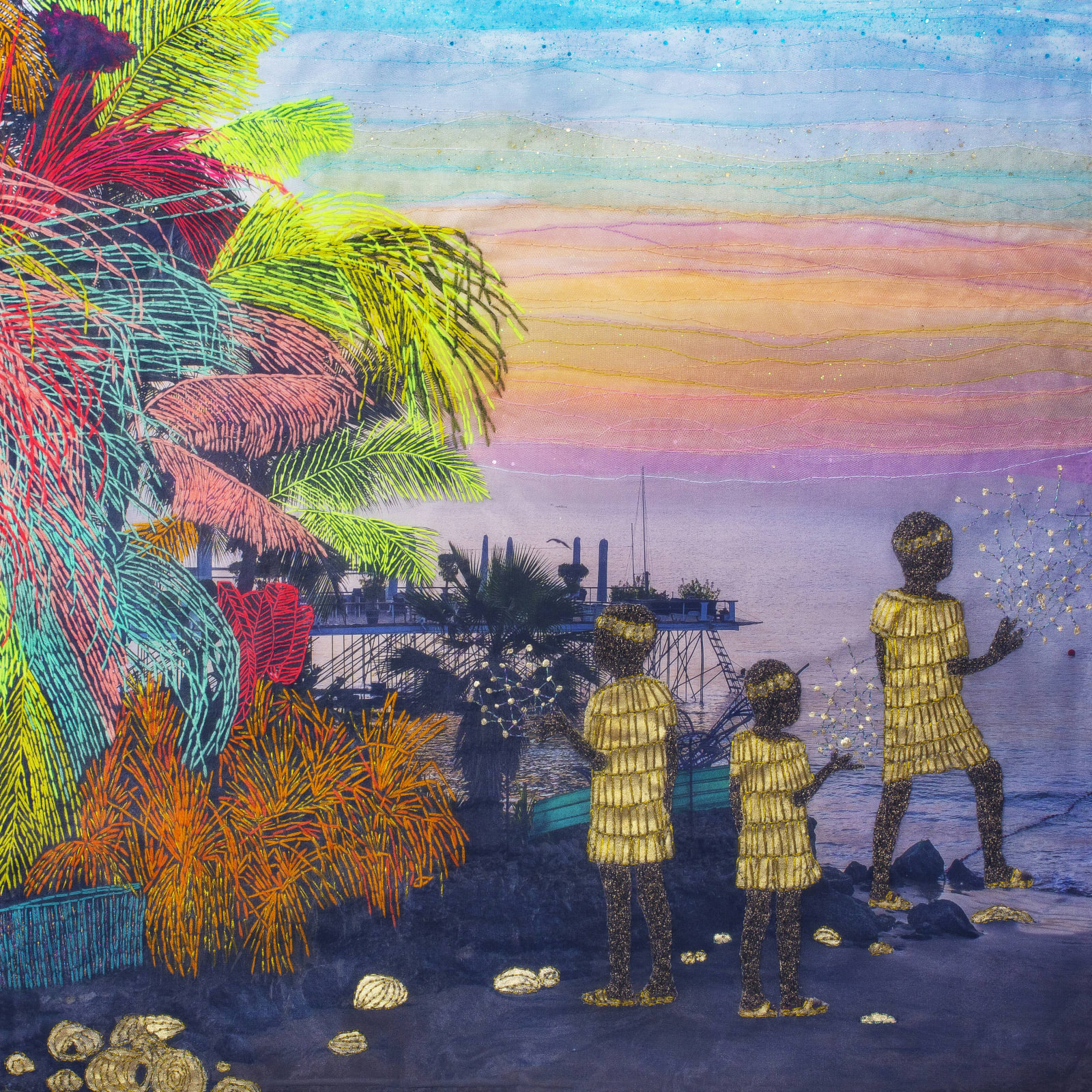 Joana Choumali The Healers, 2020 Mixed Media Embroidery on digital photography printed on canvas 80 x 80 cm (LOFT0628)