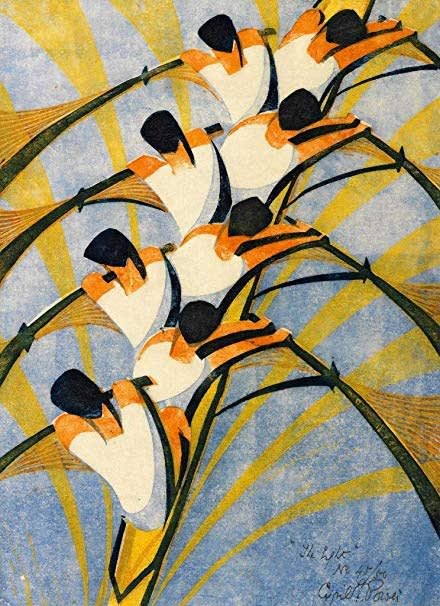 Cyril Power, The Eight, 1930 Linocut
