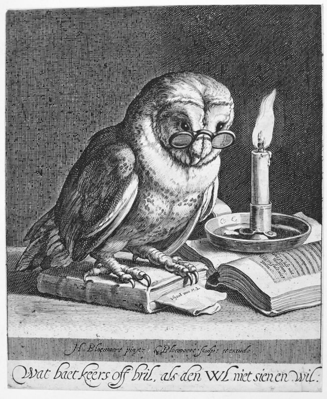 Cornelis Bloemart, Owl with Candle, 1625 Etching & Engraving