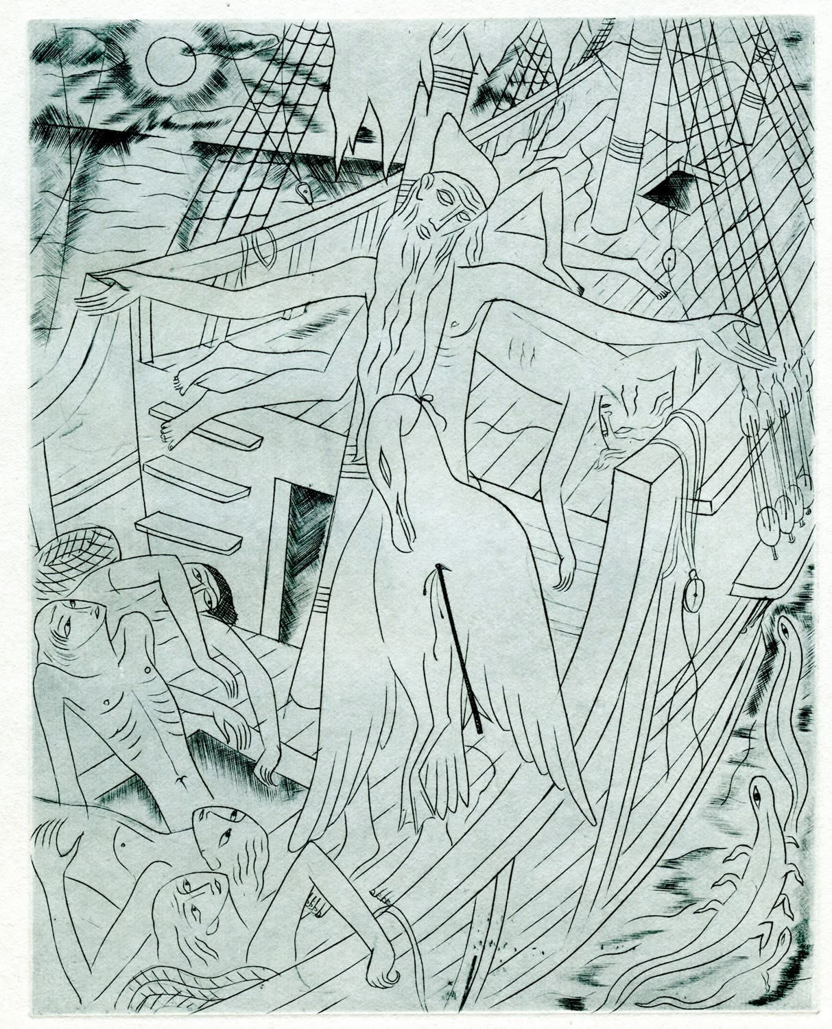 David Jones, The Curse from The Rime of the Ancient Mariner, 1928 Engraving with Drypoint