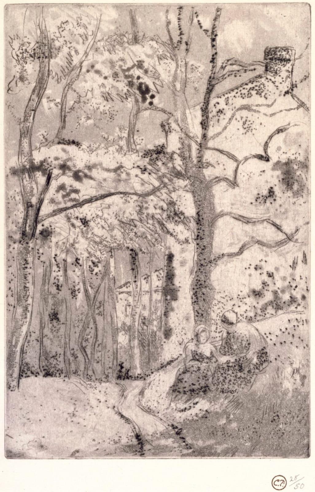 """Camille Pissarro La Maison Rondest, à l""""Hermitage, 1882 Etching and Aquatint"""
