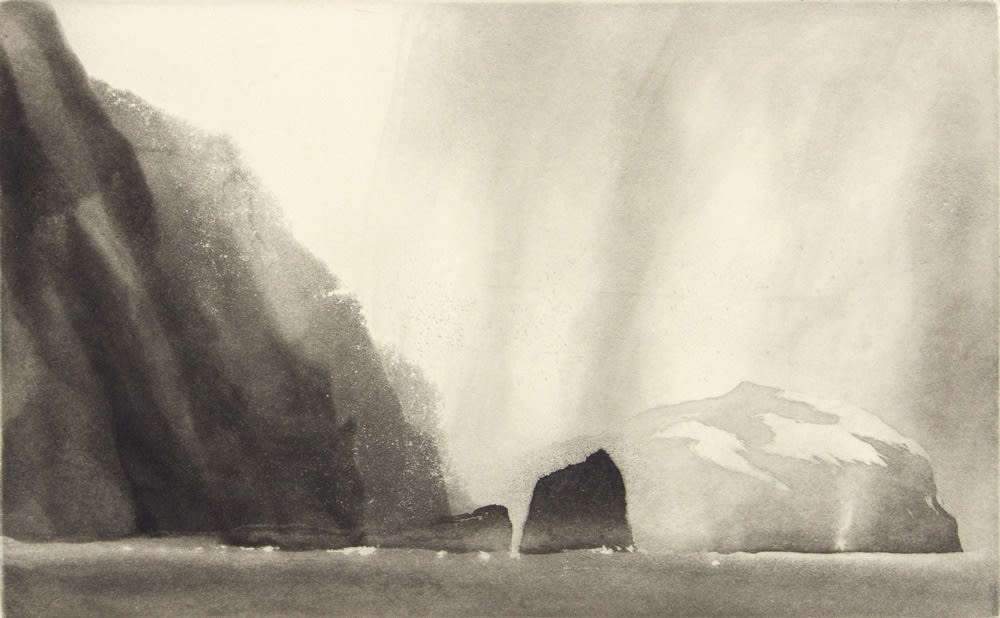 Norman Ackroyd, The Cliffs of Conachir - Mina Stac, 2010 Aquatint