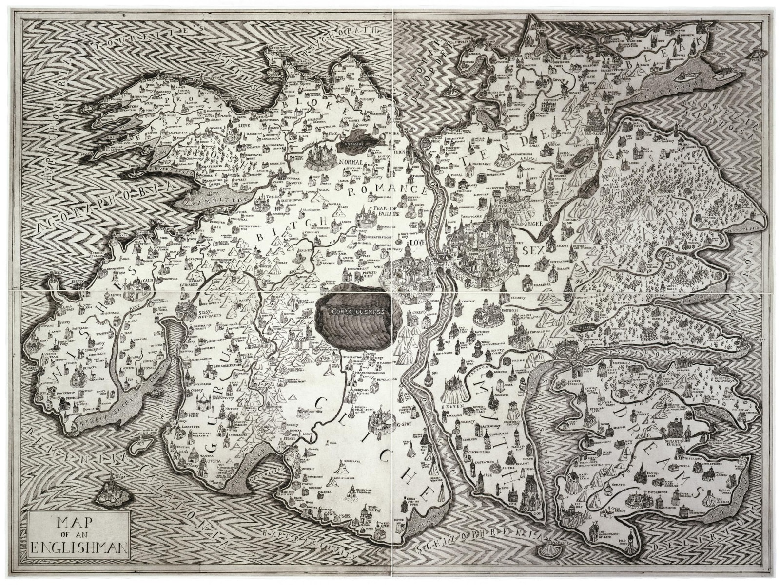 Grayson Perry, Map of an Englishman, 2004 Etching