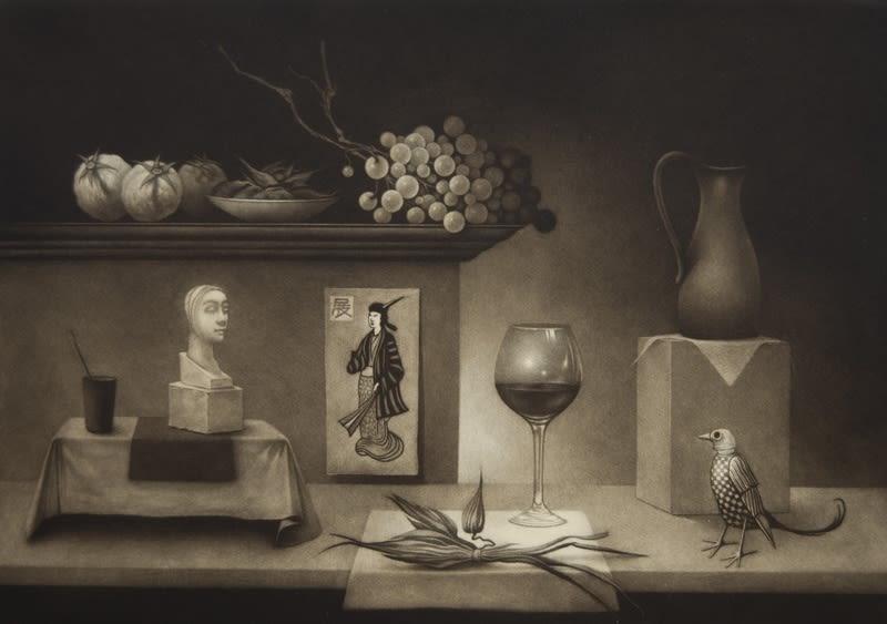Erling Valtyrson, Arrangement with glass, 2016 Mezzotint