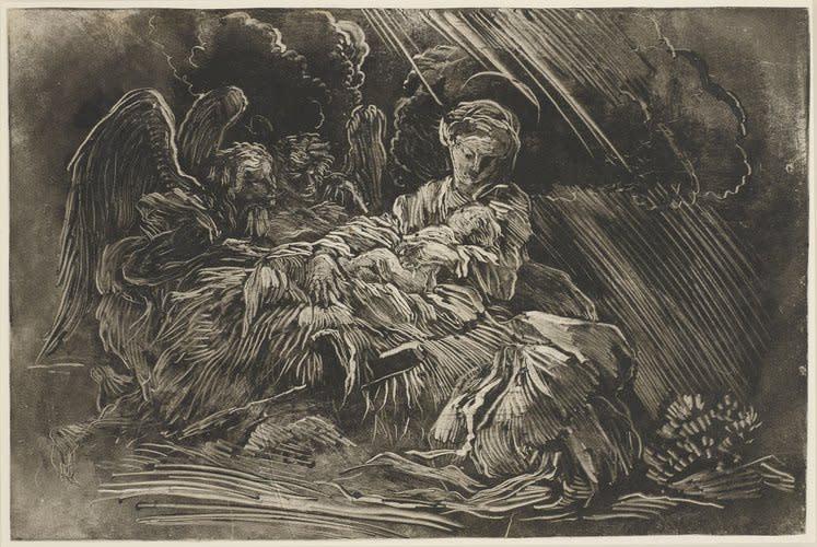 Giovanni Bendetto Castiglione, Nativity, 1655 Monotype