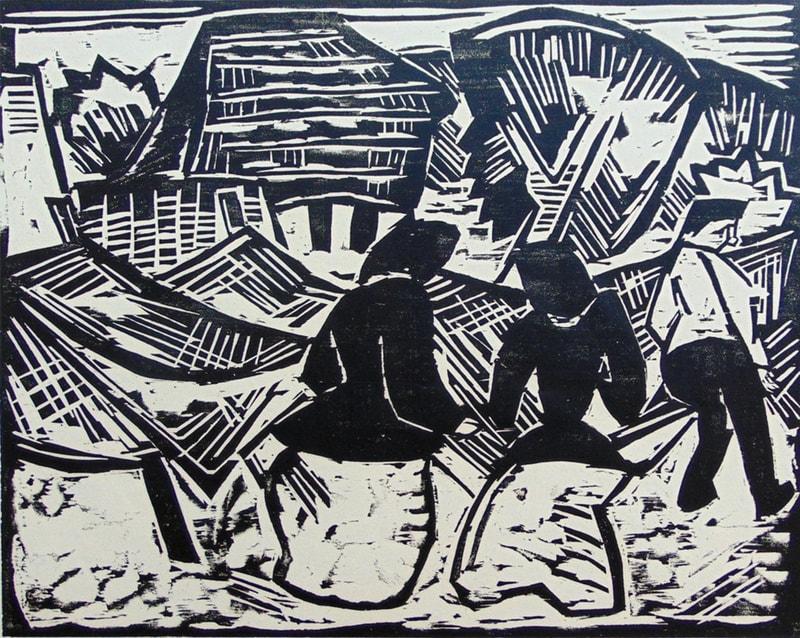 Karl Schmidt-Rottluff, Bei den Netzen (By the Nets), 1914 Woodcut