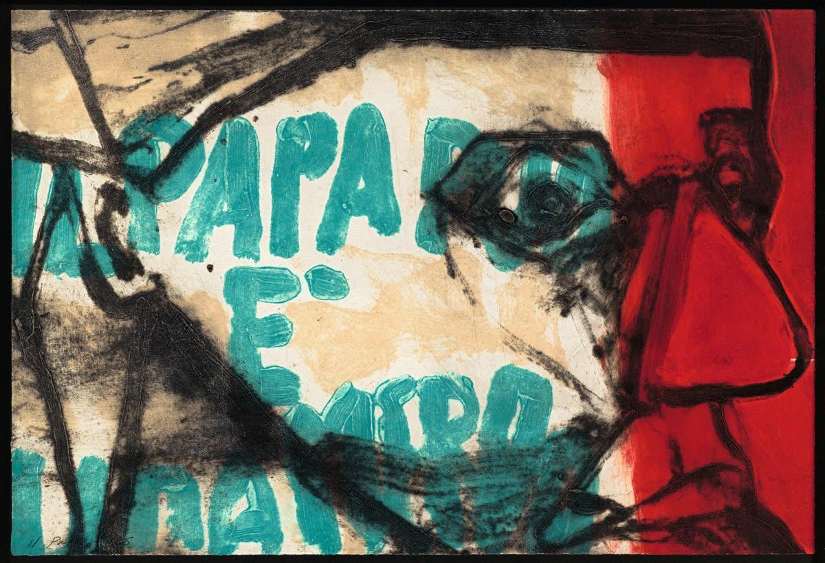 Hughie O'Donoghue RA, Rioba: Il Papa, 2011 Carborundum