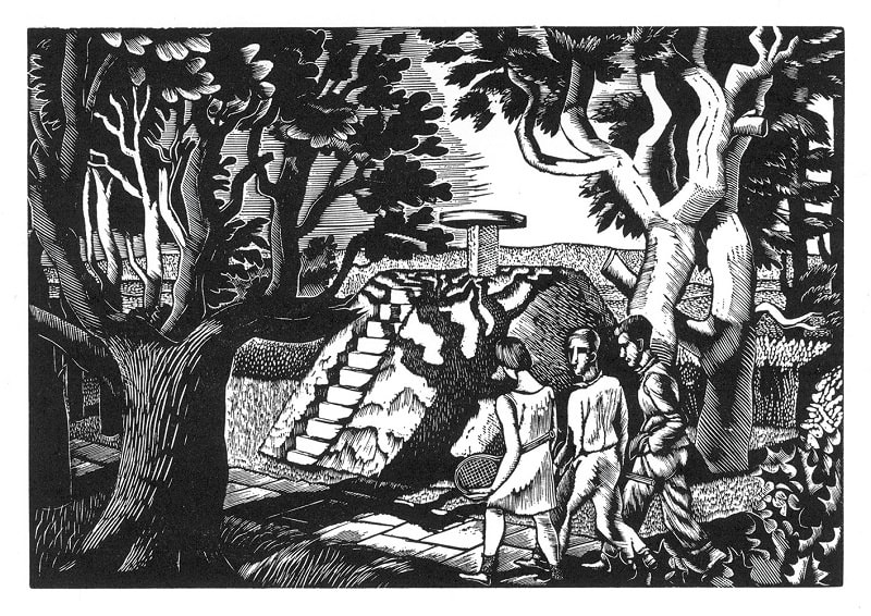 Eric Ravilious, Manor Gardens, 1927 Wood Engraving