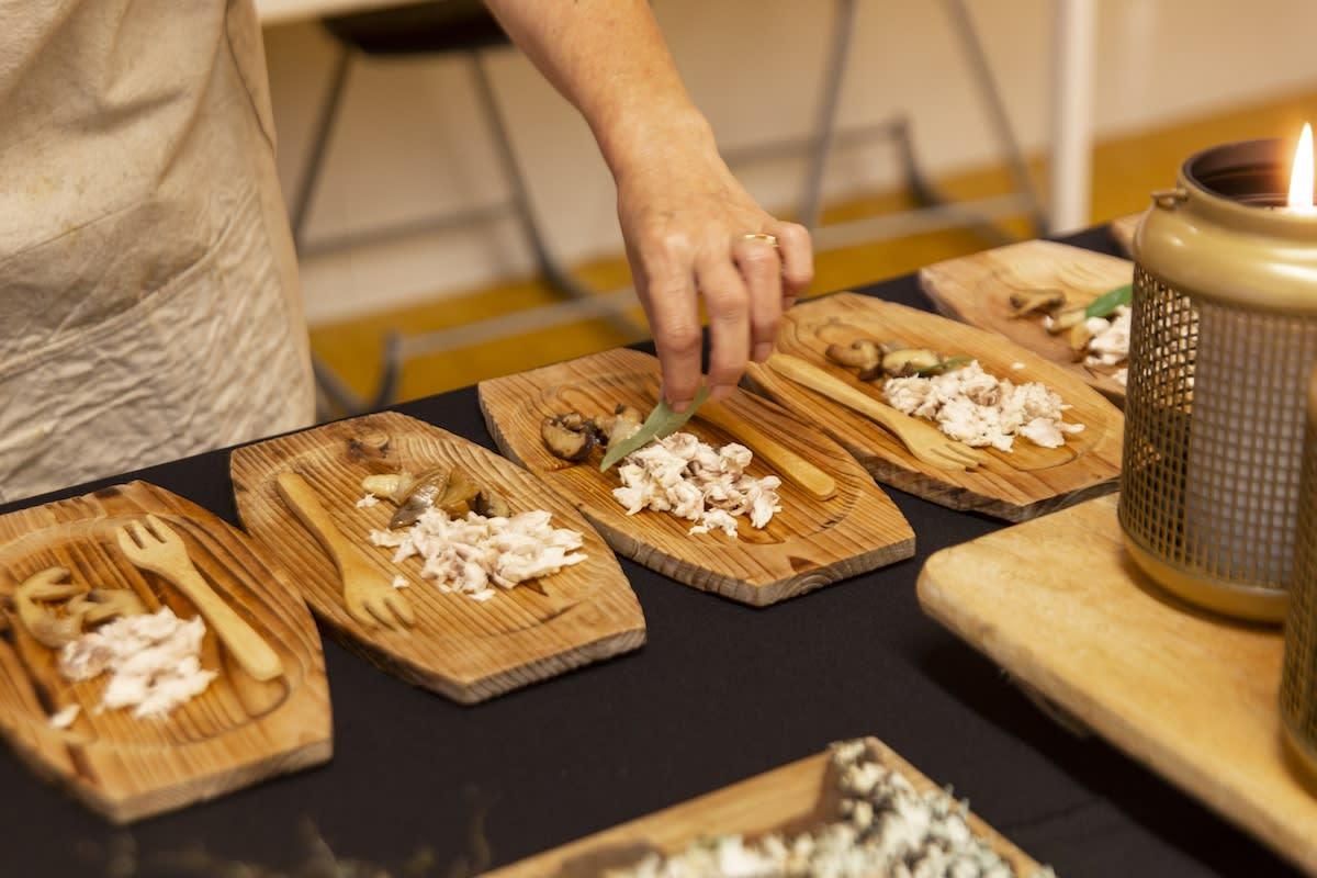 Seasonal Mushrooms with Grilled Mullet and fresh Hangehange Leaves