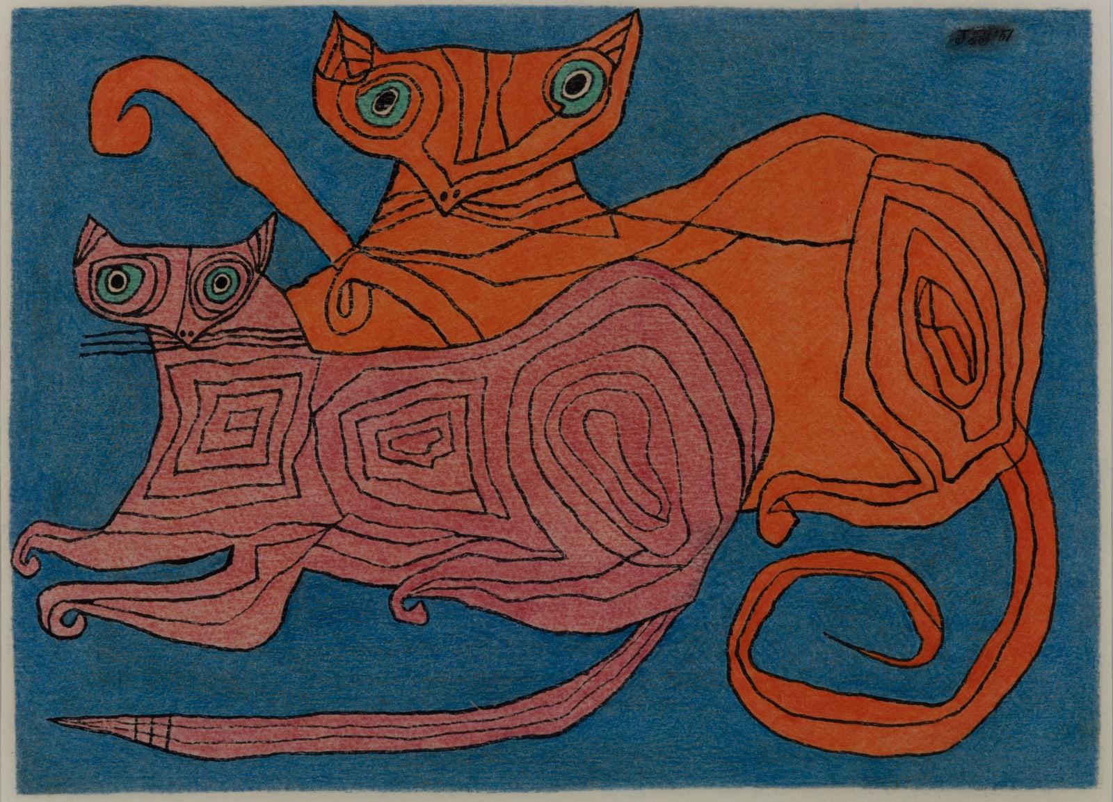 JAN SCHOONHOVEN, Twee katten, 1951