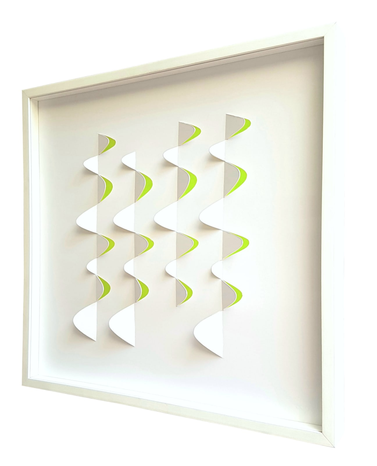Barks No.6 Blanco-limón, 2012 Cut and folded cardboard, plexiglass and LED´s 23 3/5 × 23 3/5 × 2 4/5 in 60 × 60 × 7 cm