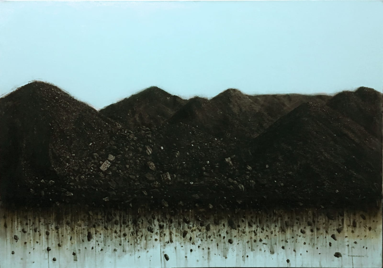 N°1, 2019 Charcoal, Enamel and Oil on canvas 27 3/5 × 39 2/5 in 70 × 100 cm