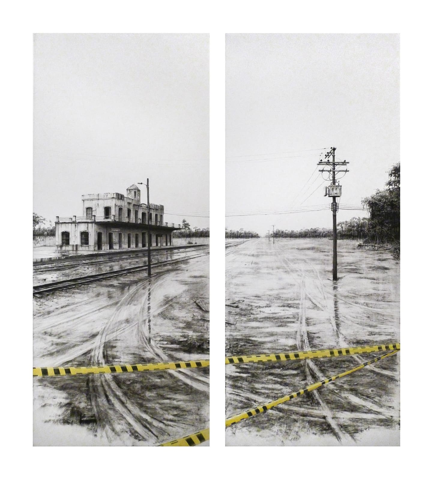 Progreso 1, 2014 Charcoal and color pencils on paper 47 1/5 × 39 2/5 in 120 × 100 cm