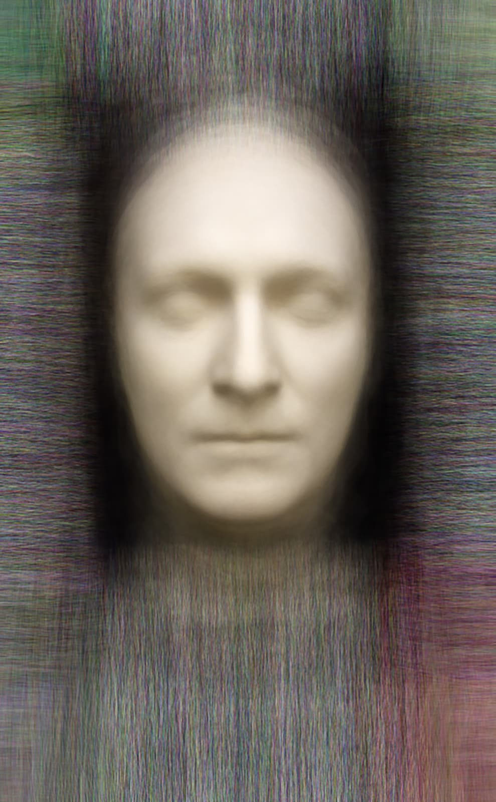 Death - Post-mortem masks of notable men, 2014 Chromogenic Colour Print, Electroluminescent Paper, Half-silvered Acrylic 23 3/5 × 16 1/2 in 60 × 42 cm