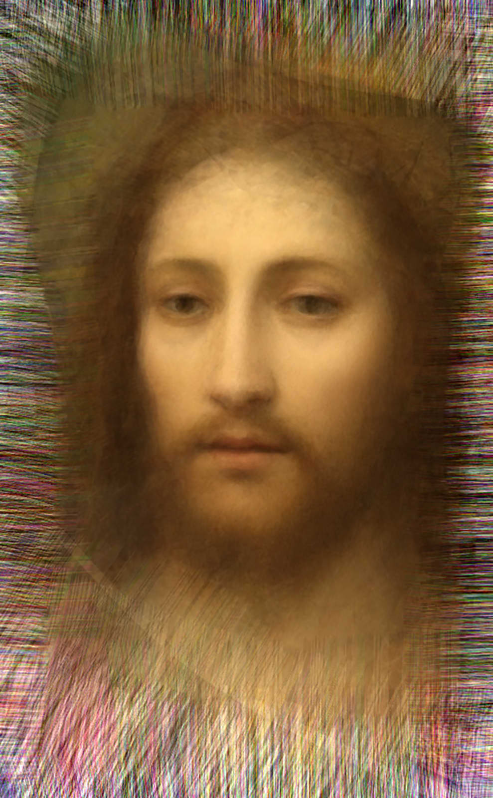 Hope - Thirteen million dollars' worth of paintings containing the image of Christ sold at auction, 2014 Chromogenic Colour Print, Electroluminescent Paper, Half-silvered Acrylic 23 3/5 × 16 1/2 in 60 × 42 cm