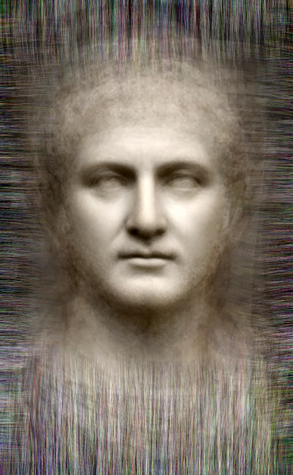 Power - All Roman Emperors representations of whose faces survive, 2014 Chromogenic Colour Print, Electroluminescent Paper, Half-silvered Acrylic 23 3/5 × 16 1/2 in 60 × 42 cm