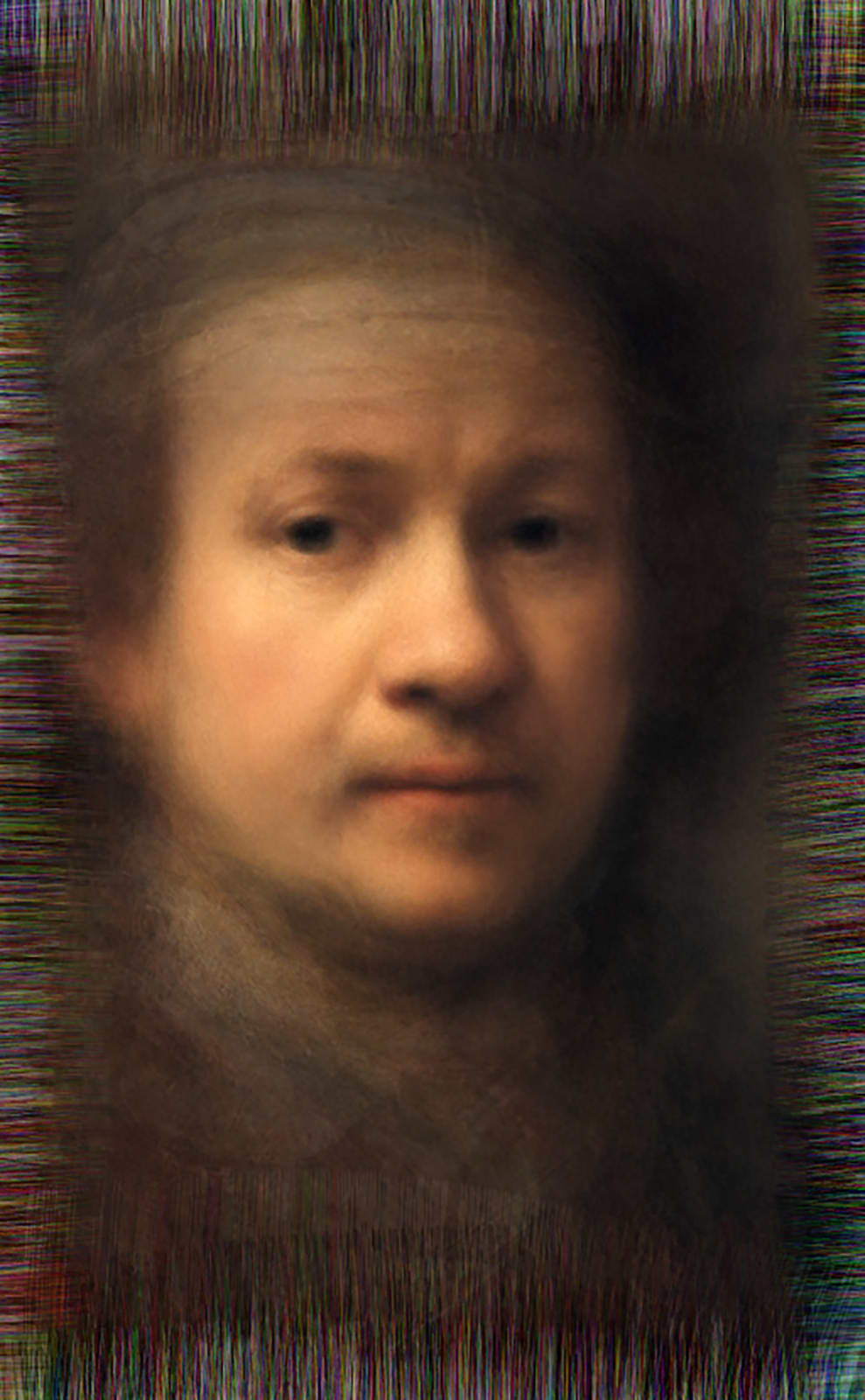 Reflection - All of Rembrandt's self-portraits, 2014 Chromogenic Colour Print, Electroluminescent Paper, Half-silvered Acrylic 23 3/5 × 16 1/2 in 60 × 42 cm