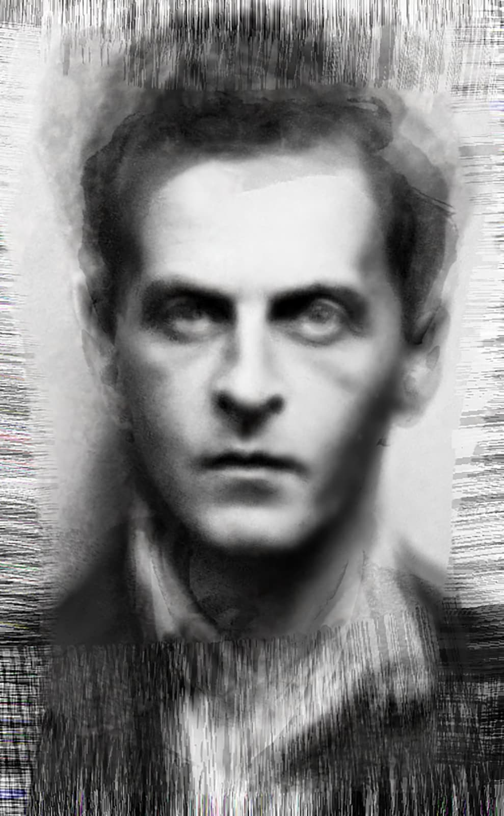 Thought - All known photographs of Wittgenstein, 2014 Chromogenic Colour Print, Electroluminescent Paper, Half-silvered Acrylic 23 3/5 × 16 1/2 in 60 × 42 cm