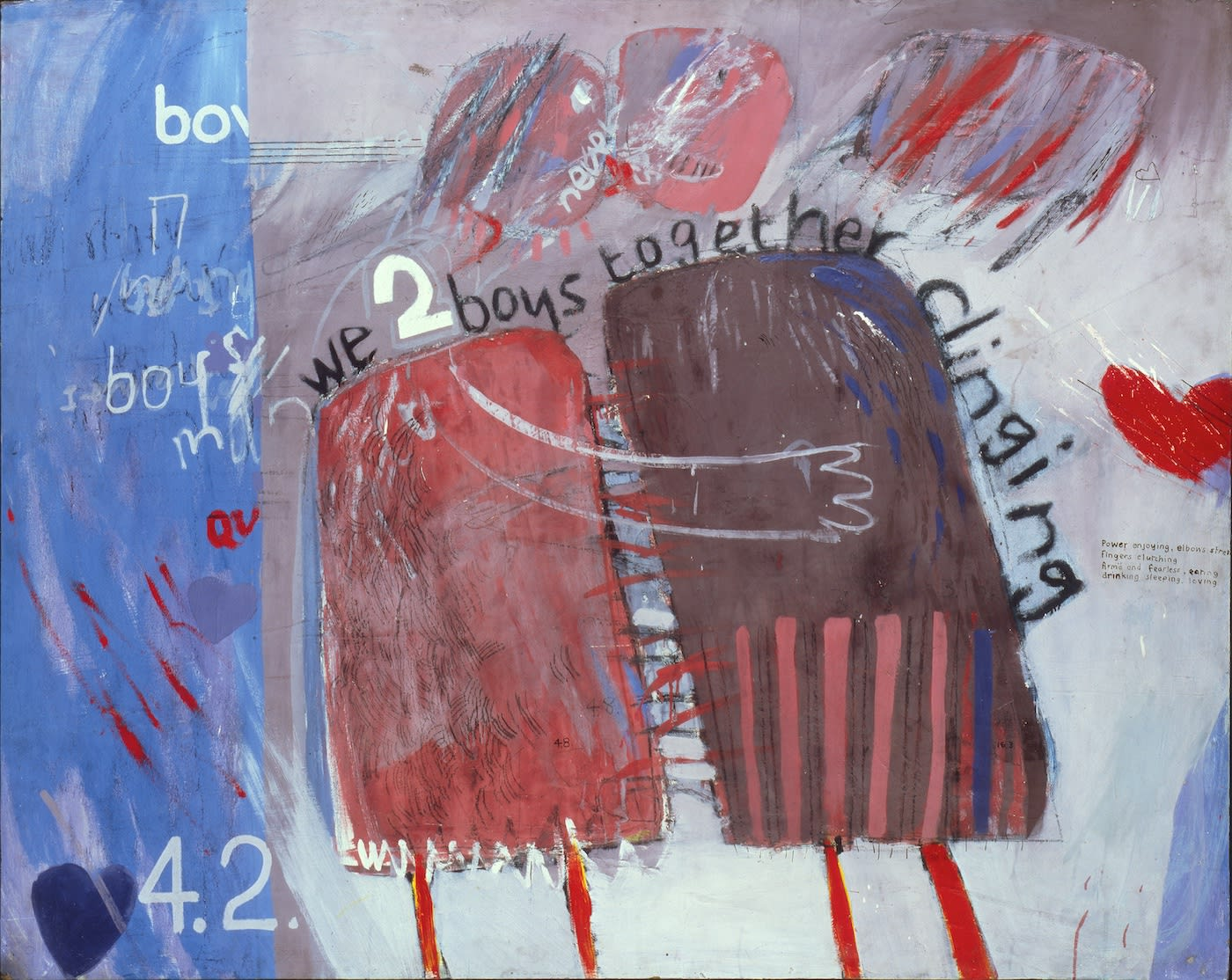 """David Hockney, """"We Two Boys Together Clinging"""" (1961), oil on board, 48 x 60 inches; © David Hockney; photo: Prudence Cuming Associates Arts Council Collection, Southbank Centre, London"""