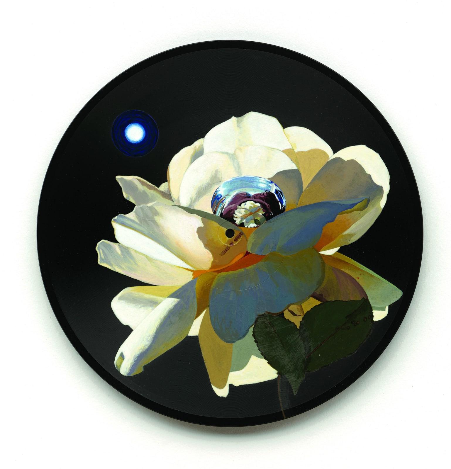 Catherine Barron Moonflower Acrylic ink on 12-inch Bakelite record